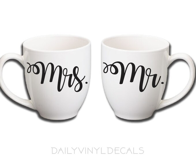 Mr. and Mrs. Decals - wedding decals, bride and groom decals, wedding decorations - Personalize Your Own Coffee Mugs, Wine Glasses, Etc!