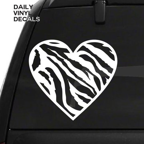 Zebra Print Heart Decal - Zebra Pattern Heart Vinyl Sticker - Car Truck Laptop Wall Decal Etc. *Choose Size & Color* Hearts Love