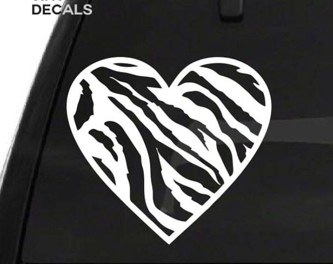 Zebra Print Heart Decal - Zebra Pattern Heart Vinyl Sticker - Car Truck Laptop Wall Decal Etc. *Choose Size & Color* Hearts Love