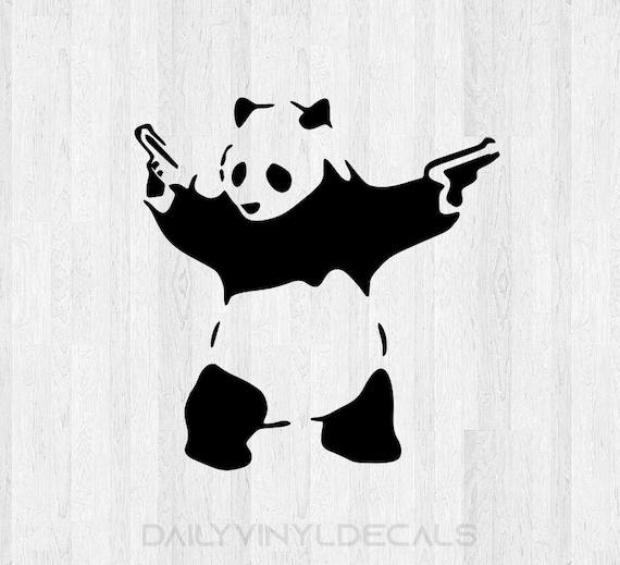 Banksy Panda Decal - Banksy Panda Sticker - Panda Bear with guns Bear Decal Bear Sticker Graphitti Art Di Cut Decal Car Truck Laptop Decal