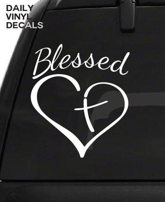 Blessed Heart Decal - Blessed Heart Cross Vinyl Sticker - Religious Religion Vinyl Car , Truck , Laptop Decals etc. *Choose Size & Color*