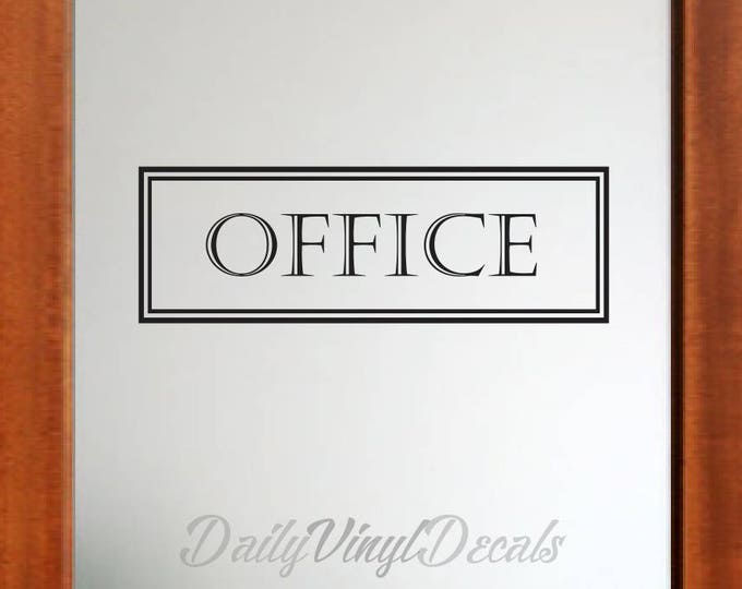 Office Vinyl Decal *Choose Size & Color* Vintage Style Lettering - Double Border Rectangle Office Door Sign - Office Lettering Vinyl Sticker