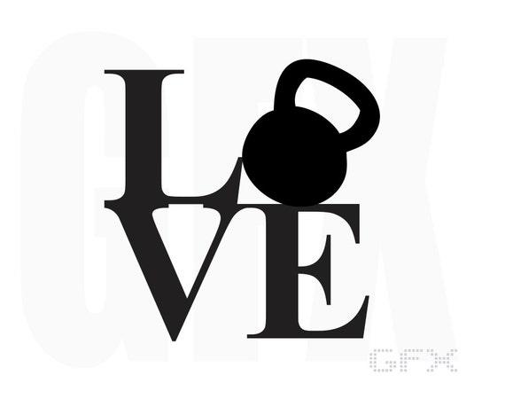 Love Kettlebell Decal - Workout Sticker Fitness Decal- Love Decal Love Sticker - Kettlebell Sticker - Water Bottle Decal Car Laptop