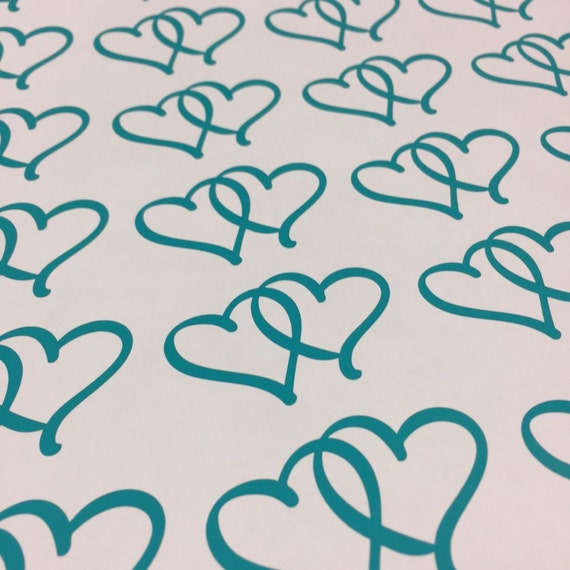 10 Pack Heart Decals - Interlocked Heart Stickers - Pack of 10 Stickers - Double Hearts Decal Locked Heart Stickers - Love