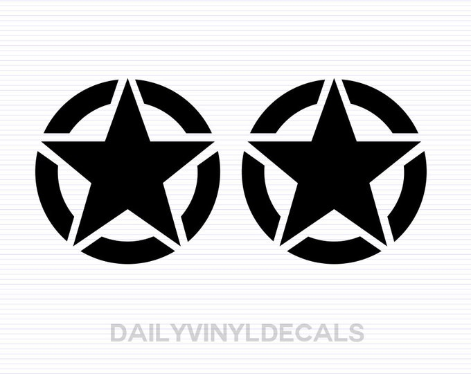 Military Star Decals - Set of 2 Star Stickers - US Army Star Jeep Decals Jeep Sticker - Military Jeep Stars Jeep Wrangler - Military Decal
