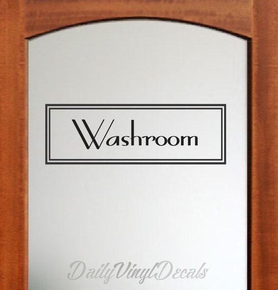 Washroom Decal - Vintage Style Rectangle Design - Washroom Wall Decal - Vinyl Lettering Text Window Door Bathroom Vinyl Decal etc.