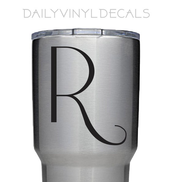 Elegant Letter Decal - ANY Letter - Riesling Style Single Letter Monogram - Name Initial Sticker *Choose Size & Color* Yeti Tumbler Decal