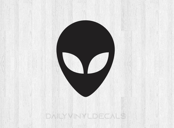 Alien Head Decal Alien Head Sticker - Alien Head Silhouette Decal Outer Space Decals - Alien Decal Alien Sticker