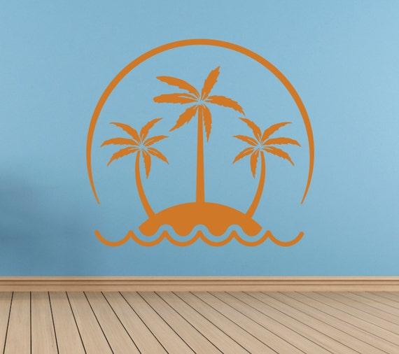 Palm Tree Island Vinyl Wall Decal *Choose Size & Color* Palm Trees Vinyl Wall Decor - Sunset Beach House Decor Cottage - Vinyl Decals