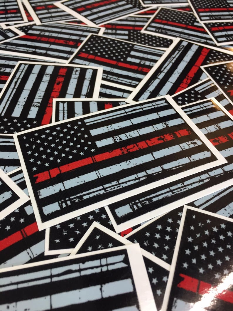 Thin red line american flag sticker distressed american flag etsy