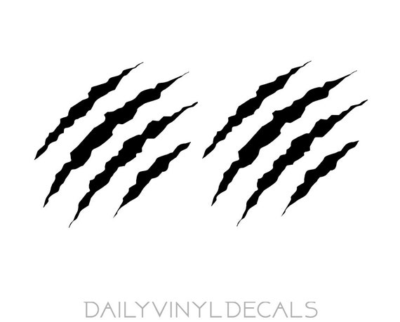 Claw Vinyl Decals - Set of 2 Decals *Choose Size & Color* Wolverine Style Claw Stickers - Scratch Claw Beast Tear Marks