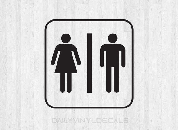 Bathroom Sign Decal Bathroom Sign Sticker *Choose size and color* Public Restroom Decal Restroom Sticker - Mens Room Ladies Room