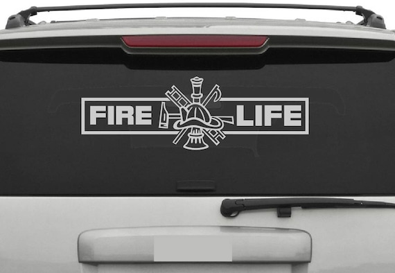 Fire Life Decal - Fire Life Sticker - Firefighter Symbol Hook and Ladder Fire Chief - First Responder Decal - Fire Life Truck Decal
