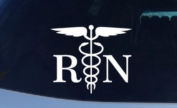 RN Registered Nurse Vinyl Decal -  Caduceus Healthcare Nurse Doctor Symbol Vinyl Decal - Hospital Wings Snake Vinyl Stickers Logo Decals