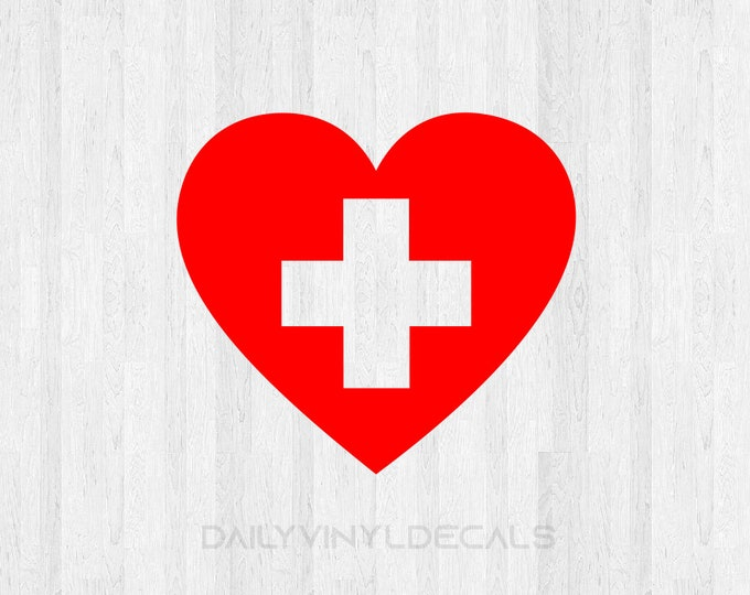 Set of 2 Medical Heart Decals - Medical Cross Stickers - Hospital Cross Doctor Nurse Decal Health Care First Aid Decal - Nurse Love Decal