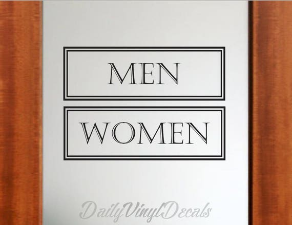 Men and Women Restroom Decals - Set of 2 Decals - *Choose Size & Color* Mens Room Decal Women Bathroom Decals - Bathroom Sign Decal