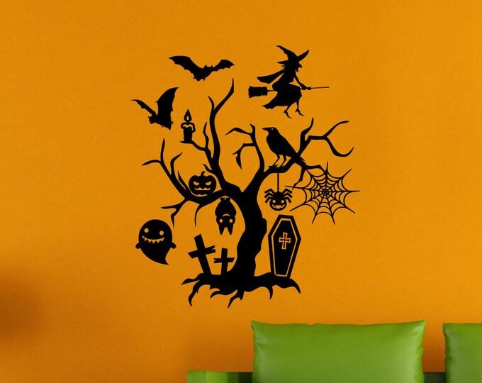 Custom Halloween Scene Vinyl Wall Decal *Choose Size & Color* Spooky Halloween Decor Vinyl Decals - Vinyl Wall Decals