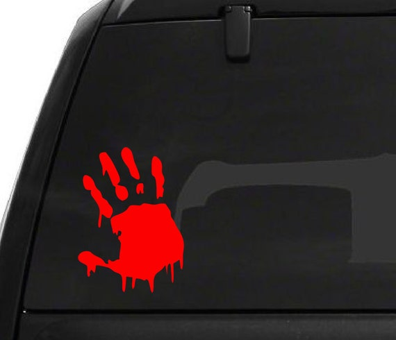 Bloody Hand Decal *Choose Size & Color* Bloody Hand Sticker - Halloween Zombie Hand Dripping Spooky Decor
