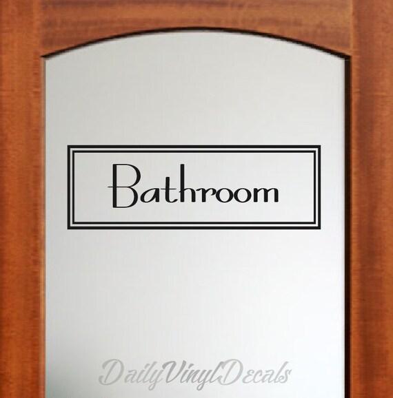 Bathroom Decal - Vintage Style Rectangle Bathroom Wall Decal - Vinyl Lettering Letters Text Window Door Bathroom Vinyl Decal etc.