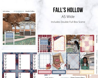 Fall's Hollow Collection Planner Stickers, African American, Fashion Girl, Autumn, Leaves, Pumpkins, Halloween