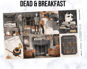 Dead & Breakfast Collection Planner Stickers, African American, Fashion Girl, Halloween, Fits Standard A5 Wide or Classic Discbound Planners