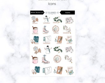 Planner Stickers, Icons, Winter Bucket List, Routines, Holiday, Christmas, Bake Cookies, Snowman, Decorate, Ice Skating, Wrap Gifts, Write
