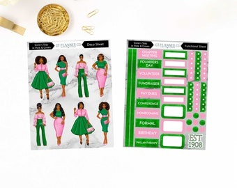 Sisters Slay Black Sorority Collection Planner Stickers, Decorative, Functional, HBCU, African American, Founders Day, College, University