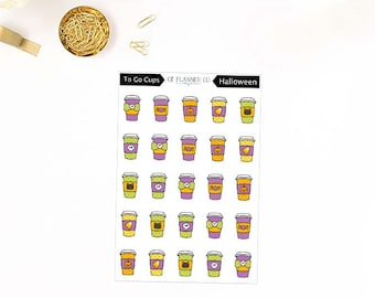 Halloween To Go Cups, Icon Planner Stickers, Fall, Autumn, Latte, Coffee, Tea, Hot Cocoa, Beverage, Holiday Cups, Candy Corn, Pumpkin, Skull