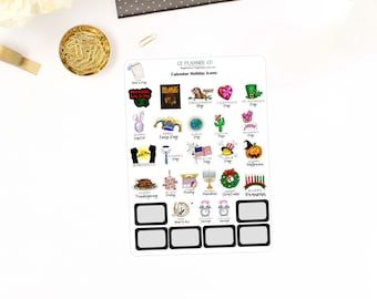 Calendar Holiday Icons Planner Stickers - Holidays, Calendar Icons, African American, Martin Luther King, Black History, Juneteenth, Kwanzaa