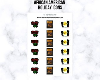 African American Calendar Holiday Icons Planner Stickers - Martin Luther King, Black History, Juneteenth