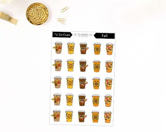 Fall To Go Cups, Icon Planner Stickers, Autumn, Pumpkin Spice, Latte, Coffee, Tea, Hot Cocoa, Hot Chocolate, Beverage, Holiday Season Cups