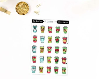 Christmas To Go Cups, Icon Planner Stickers, Winter, Latte, Coffee, Tea, Hot Cocoa, Hot Chocolate, Beverage, Holiday Season Cups