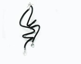 Long Earrings, Large  Earrings, extra long earrings, Fashion Earrings, Statement Earrings, Modern Earrings, Long Earrings, black earrings