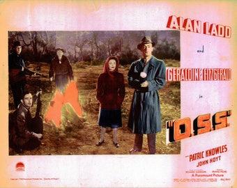 """O..S.S. - 1946 - 11"""" x 14""""   - scene card  - Alan Ladd"""