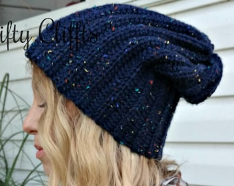 Slouchy Ribbed Beanie Hat - Navy Blue Tweed