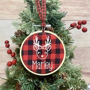 PAWPRINT CHRISTMAS ORNAMENT Red Plaid Buffalo Plaid pet ornament Photo ornament custom ornament Dog Ornament
