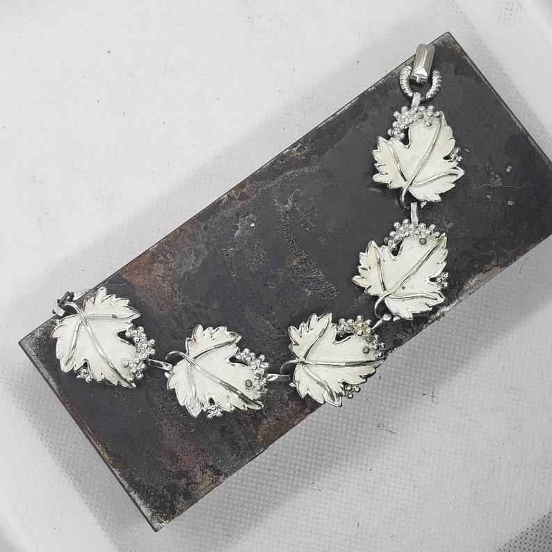 Vintage Bracelet Vintage Jewelry OOAK Gift Vintage Costume Jewelry Leaf Jewelry Nostalgic Jewelry White Leaf Bracelet Retro Bracelet