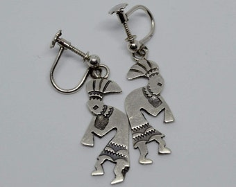Vintage Kokopelli 925 screw back earrings