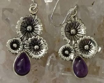Pretty Amethyst and Daisies Earrings
