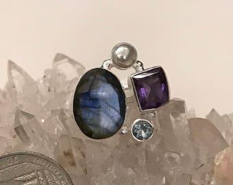 Facetet Labradorite Ring, Size 5 1/2