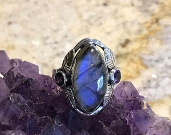 Beautiful Labradorite and Amethyst Ring, Size 8