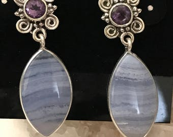 80927e62b Blue Lace Agate and Amethyst Stud Earrings