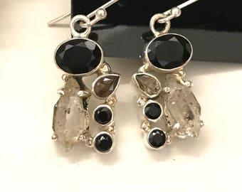 Abstract Black Onyx & Herkimer Diamond Earrings