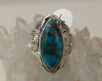 Copper Blue Turquoise Ring Size 6