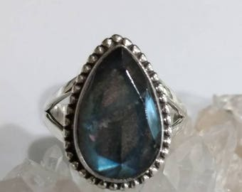 Beautiful Faceted Labradorite Ring, Size 9 1/2