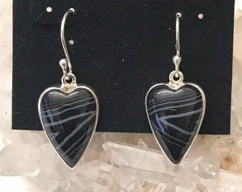 5b8df8c0f Black Banded Onyx Heart Earrings