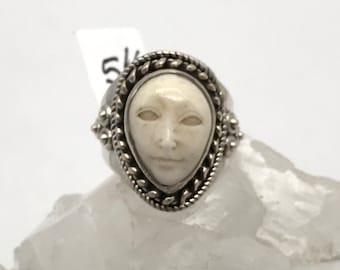 Bone Face Ring Etsy