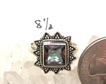 Mystic Topaz Ring Size 8 1/2
