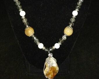 Citrine Crystal Pendant Necklace