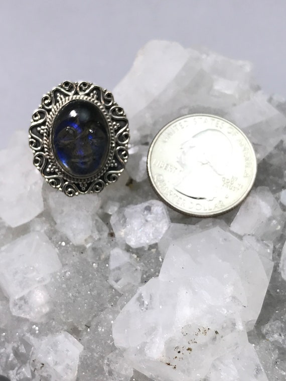 Moody Blue Labradorite  Carved Face Ring Size 5 12